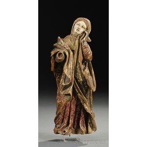 Polychrome Giltwood Figure of Mary Magdalene