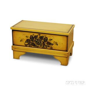 Yellow-painted and Stenciled Blanket Box