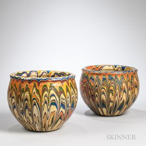 Pair of Marbled Polychrome Pottery Jardinieres