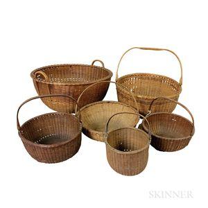 Six Nantucket Woven Round Baskets