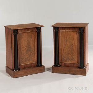 Pair of Neoclassical Mahogany and Mahogany-veneered Side Cabinets