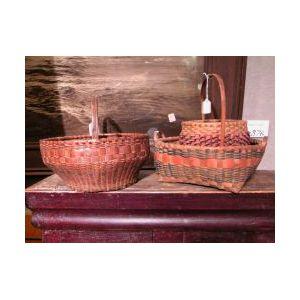 Three Painted Woven Splint Baskets.