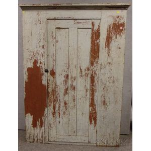 White over Red-painted Wooden Cabinet with Single Paneled Door