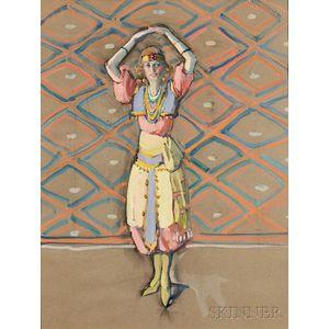 Jane Peterson (American, 1876-1965)    Dancer Posing in Festive Costume