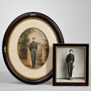 Watercolor Portrait and Photograph of Brevet Lieutenant Colonel William Jay