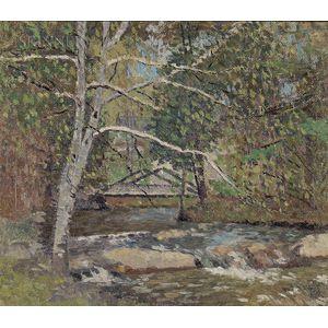 Joseph Eliot Enneking (American, 1881-1942)      Rocks by the Brook