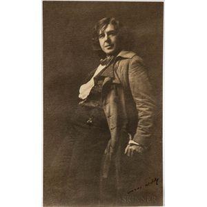 Wilde, Oscar (1854-1900) Signed Contemporary Photograph of an Oscar Wilde Impersonator, San Francisco, c. 1882.