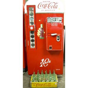 Vintage Coca-Cola Painted and Transfer Labeled Metal .10 Bottle Vending Machine