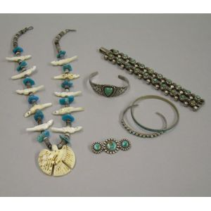 Five Southwestern Silver and Other Jewelry Items and a Mexican Silver Bracelet.