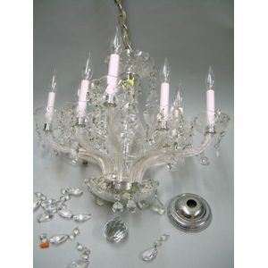 Colorless Cut Glass Eight-Arm Chandelier.