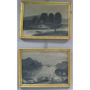 Hudson River Valley School, 19th Century       Two River Scenes.