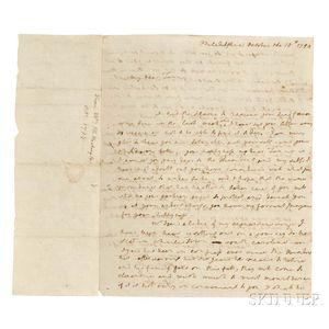Washington, Martha (1731-1802) Autograph Letter Signed, Philadelphia, 18 October 1794.