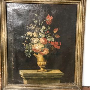 Dutch/Flemish School, 17th Century Style      Two Ornate Floral Still Life Paintings