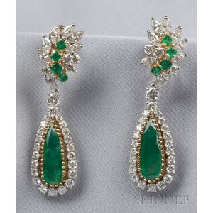 Platinum, Emerald, and Diamond Earclips, Cartier