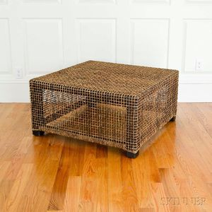 Sisal-wrapped Cube Table