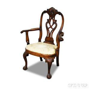 George II-style Carved Mahogany Armchair