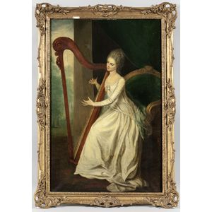 After William Hoare of Bath (British, 1707-1792)      Lady Frances Seymour Conway Playing a Harp