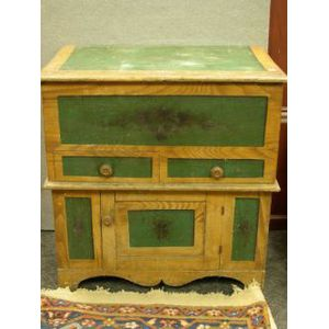 Grained and Paint Decorated Pine Commode.