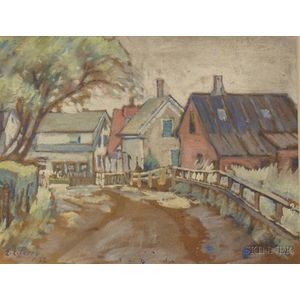 Framed Gouache on Paper/Board View of a Coastal Town, Possibly Nantucket