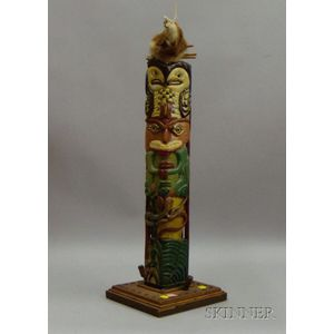 Folk Carved and Polychrome Painted Wood Totem Pole