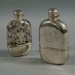 Two Sterling Silver-mounted Flasks