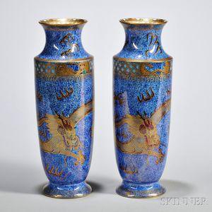 Pair of Wedgwood Dragon Lustre Vases