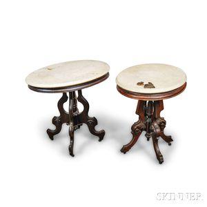 Two Renaissance Revival Oval Marble-top Walnut Tables.     Estimate $200-300