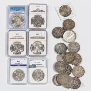 Group of Morgan and Peace Dollars