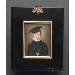 Portrait Miniature of a Boy Wearing  a Black Hat