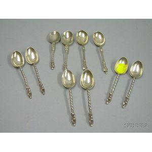 Ten English Silver Apostle-style Coffee Spoons