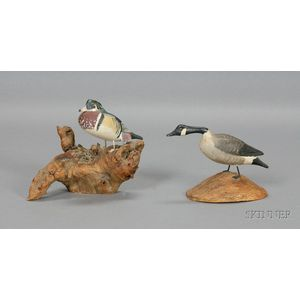Carved and Painted Miniature Wood Duck and Canada Goose Figures