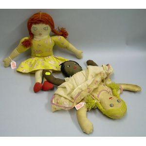 Two Cotton Rag Dolls