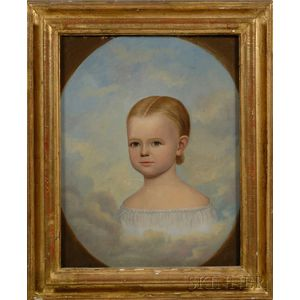 Attributed to Horace Bundy (American, 1814-1883)      Memorial Portrait of a Young Girl.