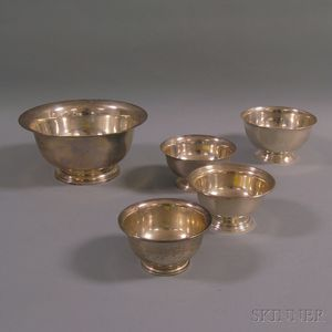 Five Graduated Sterling Silver Revere-type Bowls