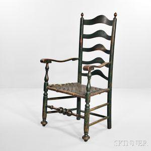 Blue-green-painted Slat-back Armchair