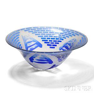 Michael Cohn Art Glass Ladder Bowl