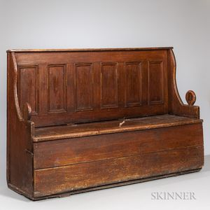 Paint-decorated Yellow Pine Settle Bed