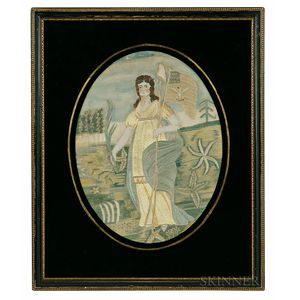 """Painted Silk and Needlework Picture Depicting """"Liberty in the Form of the Goddess of Youth"""" after Edward Savage"""