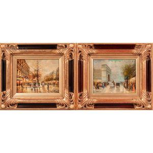 Two Paris Street Scenes:      T.E. Penke (French, b. 1929), Arc de Triomphe