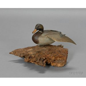 Carved and Painted Stretching Mallard Drake Duck Figure