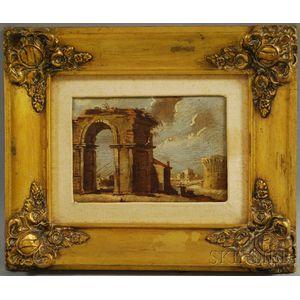 Italian School, 18th Century Style      View of Ruins.