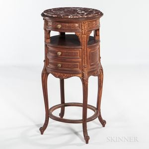 Louis XV-style Marble-top Walnut Stand
