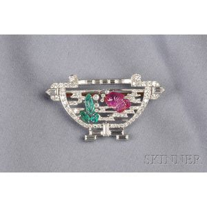 Art Deco Platinum, Diamond and Carved Gem-set Fishbowl Brooch