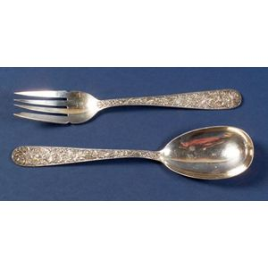 """Two S. Kirk & Son Co. Sterling """"Repousse"""" Flatware Servers"""