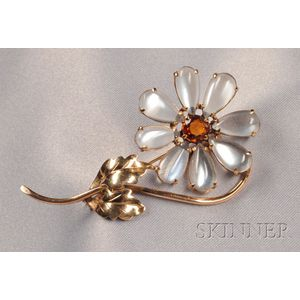 Retro 14kt Gold, Moonstone, and Citrine Flower Brooch