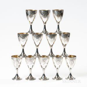 Twelve Georgian-style Silver Goblets