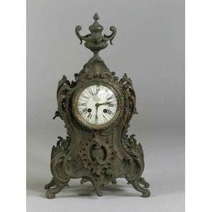 French Bronze Rococo Revival Mantel Clock