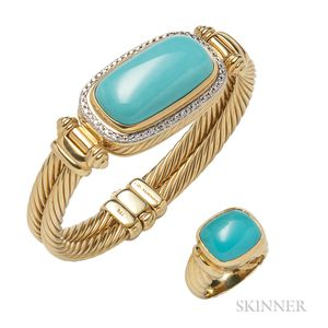 18kt Gold and Turquoise Bracelet and Ring, David Yurman