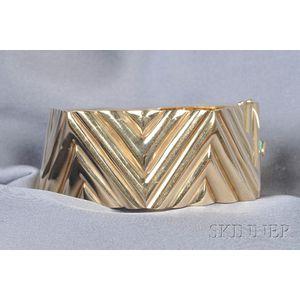14kt Gold Geometric Bangle Bracelet