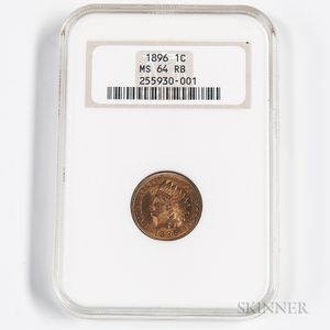1896 Indian Head Cent, NGC MS64RB.     Estimate $100-200